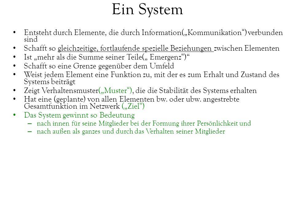 """Ein System Entsteht durch Elemente, die durch Information(""""Kommunikation"""") verbunden sind Schafft so gleichzeitige, fortlaufende spezielle Beziehungen"""