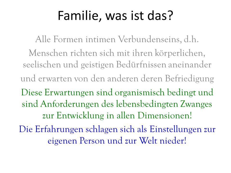 Familie, was ist das? Alle Formen intimen Verbundenseins, d.h. Menschen richten sich mit ihren körperlichen, seelischen und geistigen Bedürfnissen ane