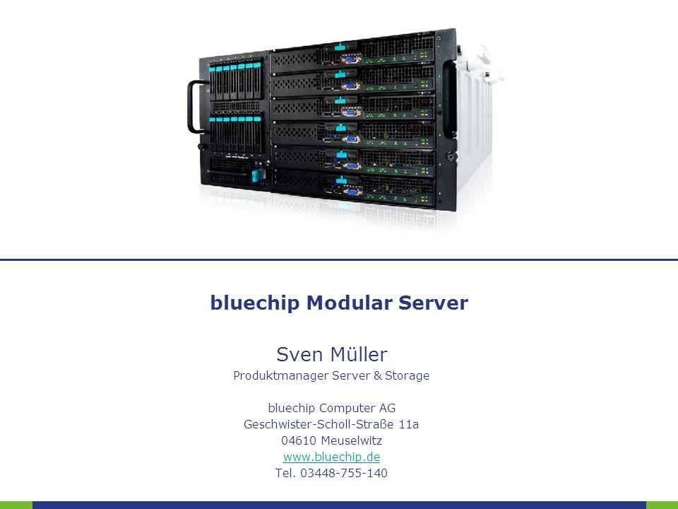 Folie:enterprise@bluechip.de12 Kühlsystem 3 getrennte Kühlzonen –Zone 1: Servermodule –Zone 2: I/O Module –Zone 3: Netzteile und Festplatten Lüftergeschwindigkeit wird über das CMM überwacht und kontrolliert gesteuerte Luftzirkulation durch das Gehäuse ©2010