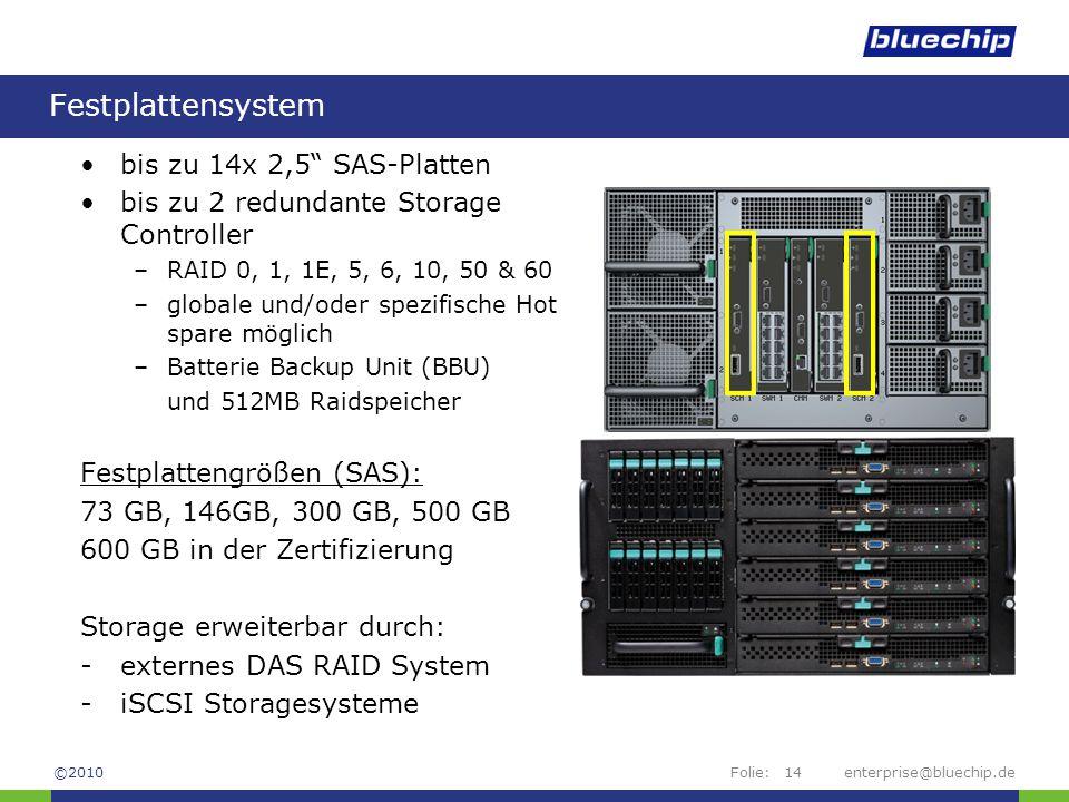"Folie:enterprise@bluechip.de14 Festplattensystem bis zu 14x 2,5"" SAS-Platten bis zu 2 redundante Storage Controller –RAID 0, 1, 1E, 5, 6, 10, 50 & 60"