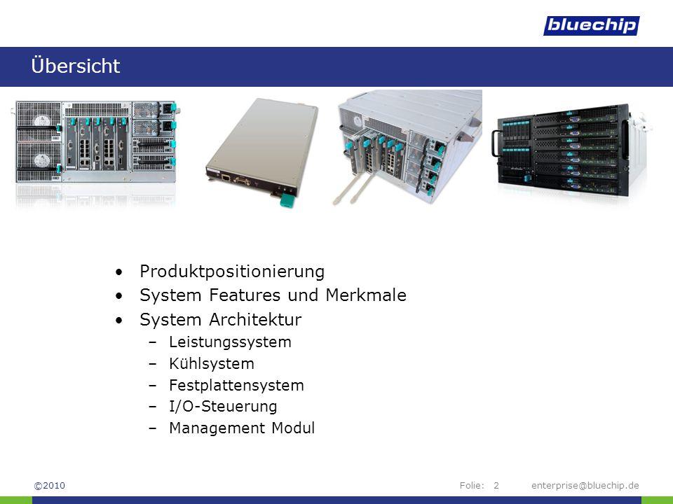 Folie:enterprise@bluechip.de2 Übersicht Produktpositionierung System Features und Merkmale System Architektur –Leistungssystem –Kühlsystem –Festplatte