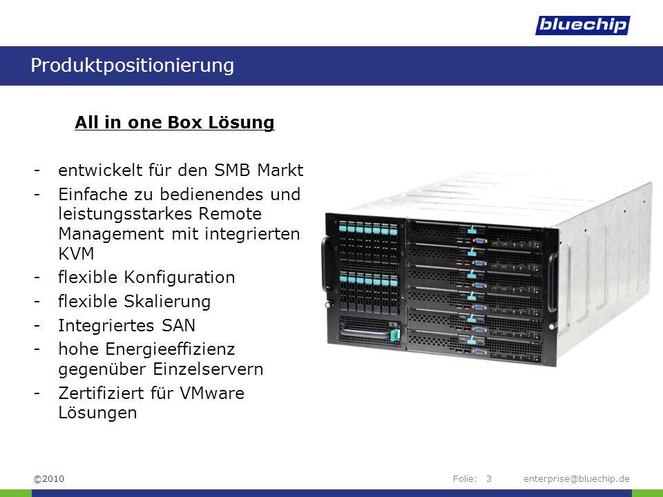 Folie:enterprise@bluechip.de14 Festplattensystem bis zu 14x 2,5 SAS-Platten bis zu 2 redundante Storage Controller –RAID 0, 1, 1E, 5, 6, 10, 50 & 60 –globale und/oder spezifische Hot spare möglich –Batterie Backup Unit (BBU) und 512MB Raidspeicher Festplattengrößen (SAS): 73 GB, 146GB, 300 GB, 500 GB 600 GB in der Zertifizierung Storage erweiterbar durch: -externes DAS RAID System -iSCSI Storagesysteme ©2010
