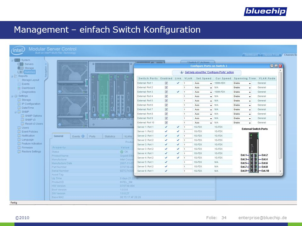 Folie:enterprise@bluechip.de34 Management – einfach Switch Konfiguration ©2010