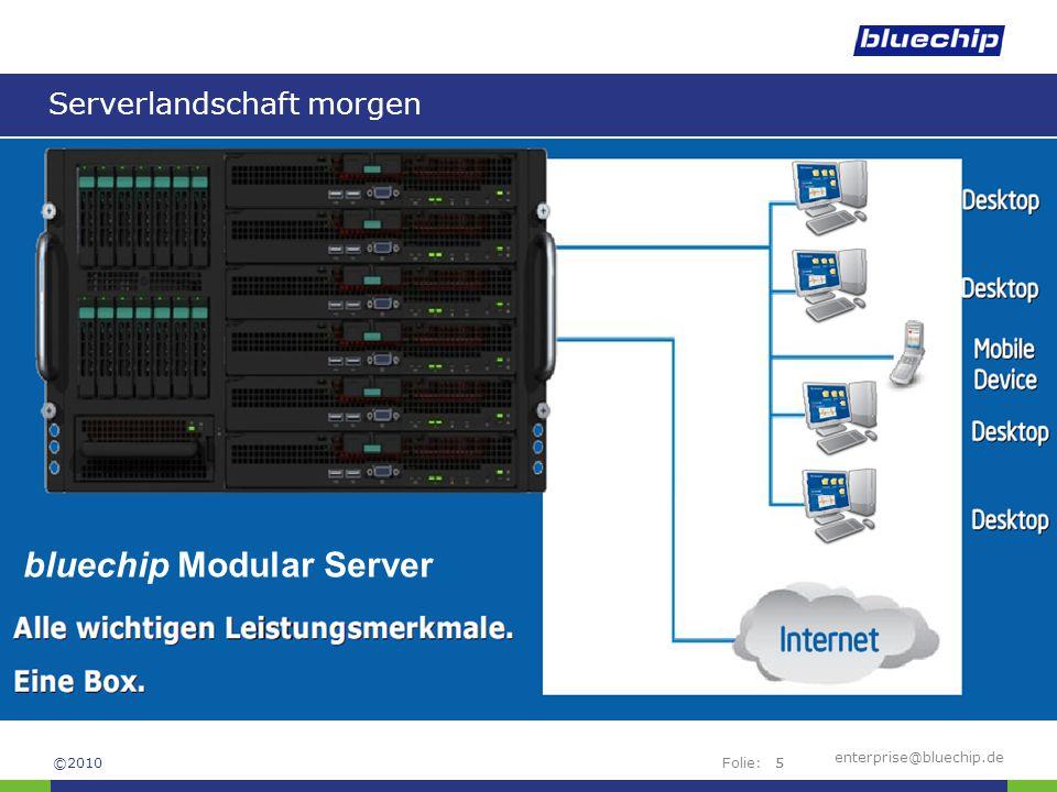 Folie:enterprise@bluechip.de6 Features des Modular Servers 6 HE-Rackgehäuse Höhe: 26,16 cm (6HE) Breite: 44,45 cm Tiefe: 72,14 cm Gesamtgewicht (aufgerüstet) : 84,82 kg bis zu 6 Server Compute Module einsetzbar Festplattensystem –14x 2,5 SAS Festplatten möglich bis zu zwei Storage Controller (redundante RAID Absicherung) bis zu zwei Ethernet Switch Module Layer 2+ redundante Hot Swap Netzteile (3+1) GUI basierendes Remote Management Shared LUN für Cluster- und Virtualisierungslösungen LUN Copier für Imaging innerhalb des SAN ©2010