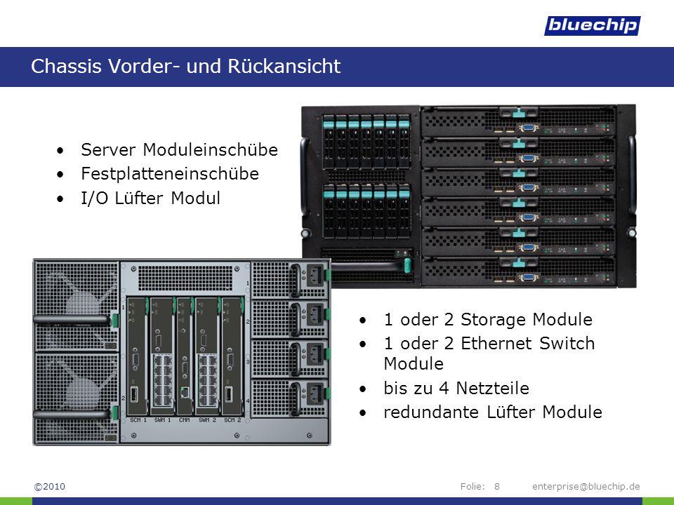 Folie:enterprise@bluechip.de8 Chassis Vorder- und Rückansicht Server Moduleinschübe Festplatteneinschübe I/O Lüfter Modul 1 oder 2 Storage Module 1 od