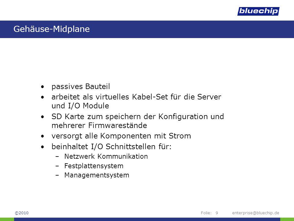 Folie:enterprise@bluechip.de9 Gehäuse-Midplane passives Bauteil arbeitet als virtuelles Kabel-Set für die Server und I/O Module SD Karte zum speichern