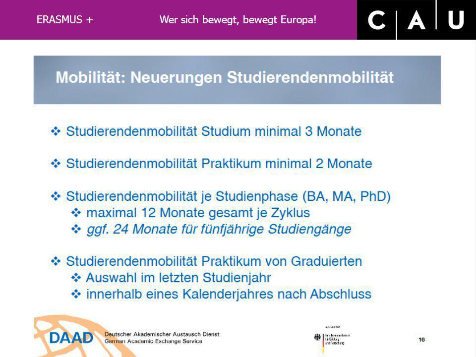 LLP/ERASMUS ERASMUS + Wer sich bewegt, bewegt Europa!