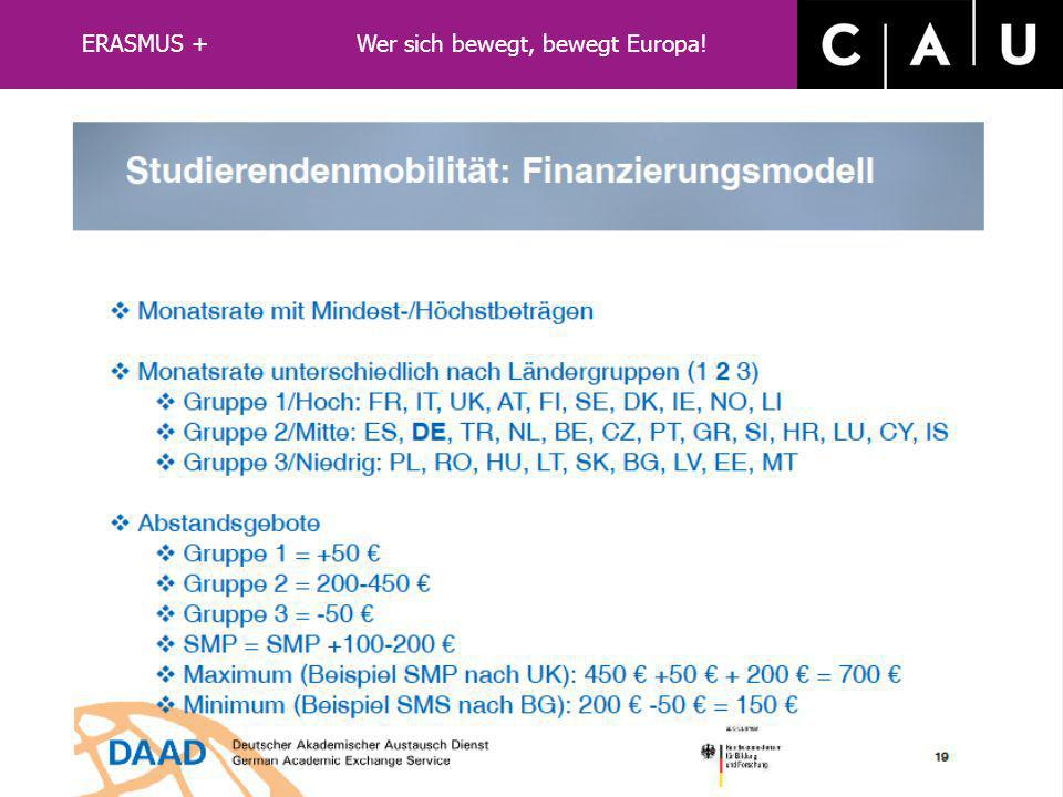 ERASMUS+ Auslandsstudium Was leistet ERASMUS+: vereinfachtes Bewerbungsverfahren Ansprechpartner an der Gastinstitution ggf. Wohnheimunterkunft keine
