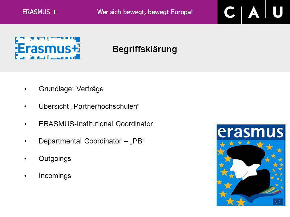 """LLP/ERASMUS Grundlage: Verträge Übersicht """"Partnerhochschulen ERASMUS-Institutional Coordinator Departmental Coordinator – """"PB Outgoings Incomings Begriffsklärung ERASMUS + Wer sich bewegt, bewegt Europa!"""
