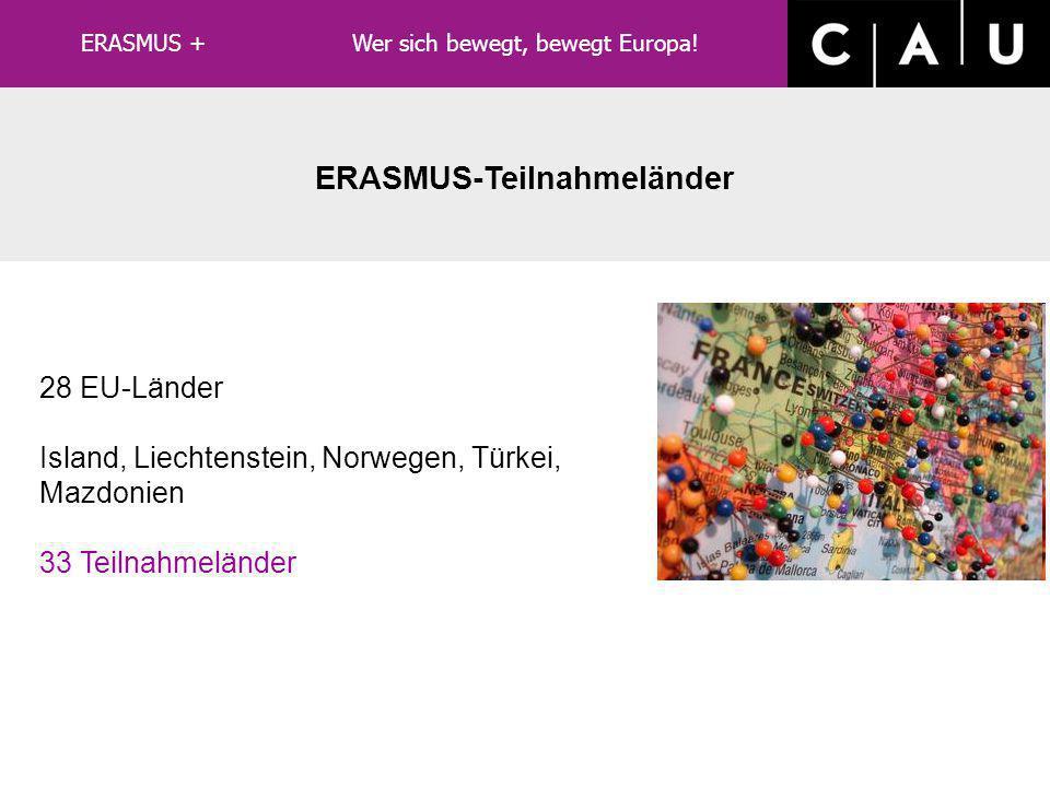 LLP/ERASMUS ERASMUS-Teilnahmeländer 28 EU-Länder Island, Liechtenstein, Norwegen, Türkei, Mazdonien 33 Teilnahmeländer ERASMUS + Wer sich bewegt, bewegt Europa!