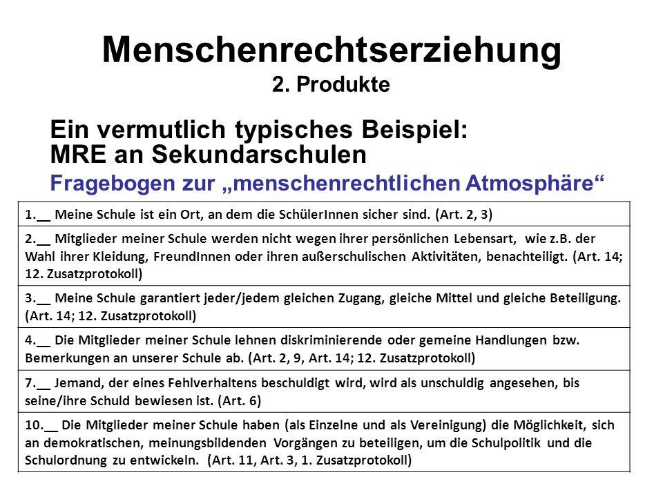 """Menschenrechtserziehung 2. Produkte Ein vermutlich typisches Beispiel: MRE an Sekundarschulen Fragebogen zur """"menschenrechtlichen Atmosphäre"""" 1.__ Mei"""