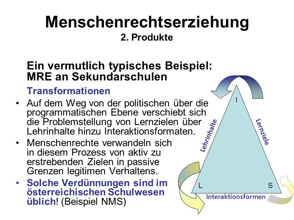 Menschenrechtserziehung 2. Produkte Ein vermutlich typisches Beispiel: MRE an Sekundarschulen Transformationen Auf dem Weg von der politischen über di