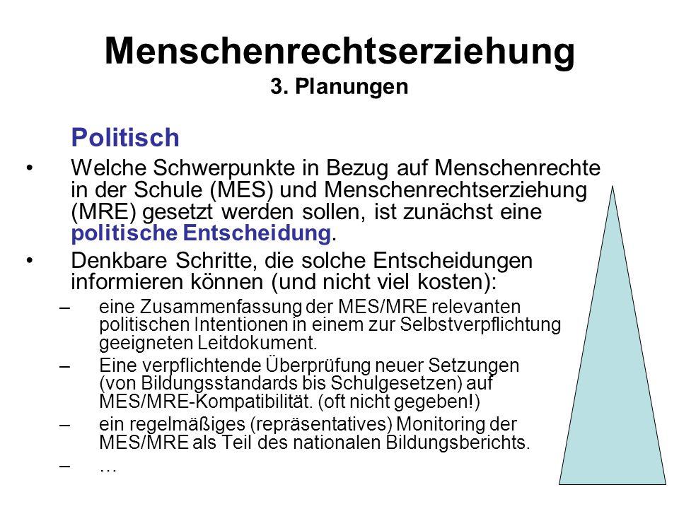 Menschenrechtserziehung 3. Planungen Politisch Welche Schwerpunkte in Bezug auf Menschenrechte in der Schule (MES) und Menschenrechtserziehung (MRE) g