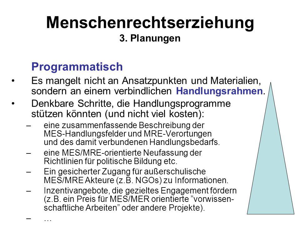 Menschenrechtserziehung 3. Planungen Programmatisch Es mangelt nicht an Ansatzpunkten und Materialien, sondern an einem verbindlichen Handlungsrahmen.
