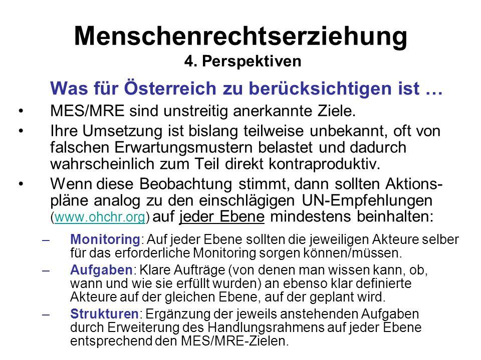 Menschenrechtserziehung 4. Perspektiven Was für Österreich zu berücksichtigen ist … MES/MRE sind unstreitig anerkannte Ziele. Ihre Umsetzung ist bisla