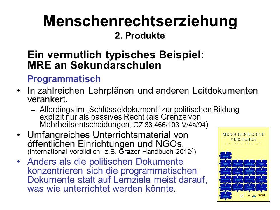Menschenrechtserziehung 2. Produkte Ein vermutlich typisches Beispiel: MRE an Sekundarschulen Programmatisch In zahlreichen Lehrplänen und anderen Lei