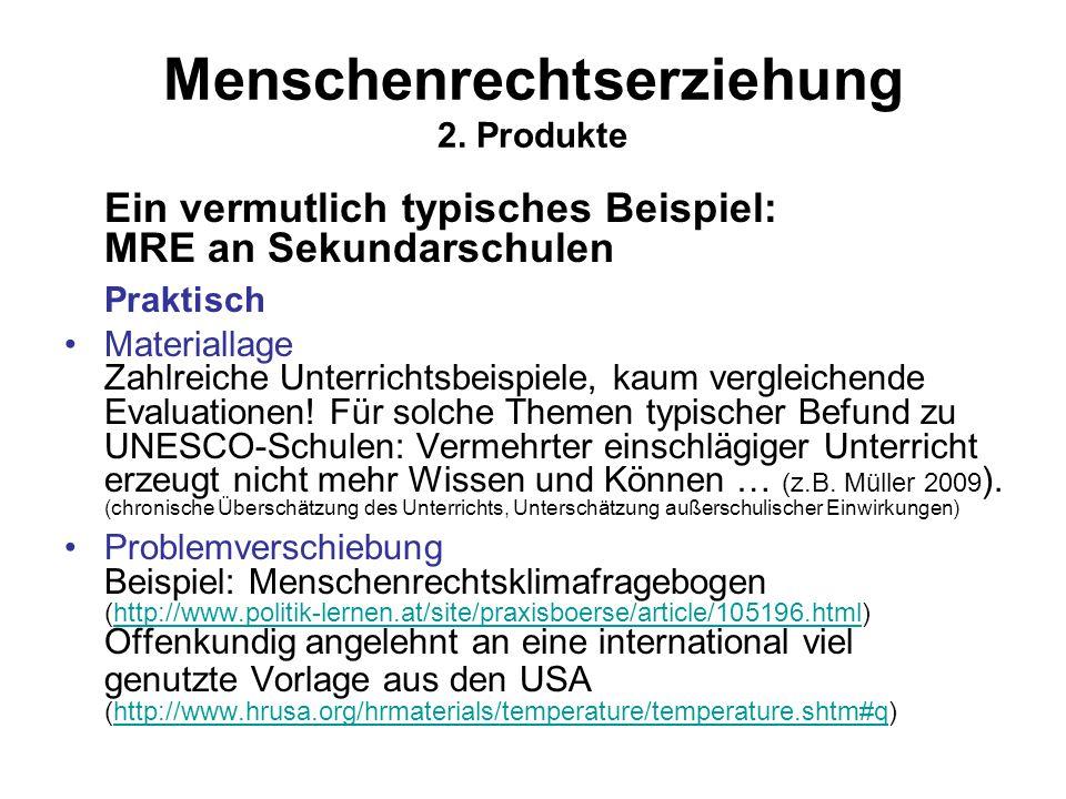 Menschenrechtserziehung 2. Produkte Ein vermutlich typisches Beispiel: MRE an Sekundarschulen Praktisch Materiallage Zahlreiche Unterrichtsbeispiele,