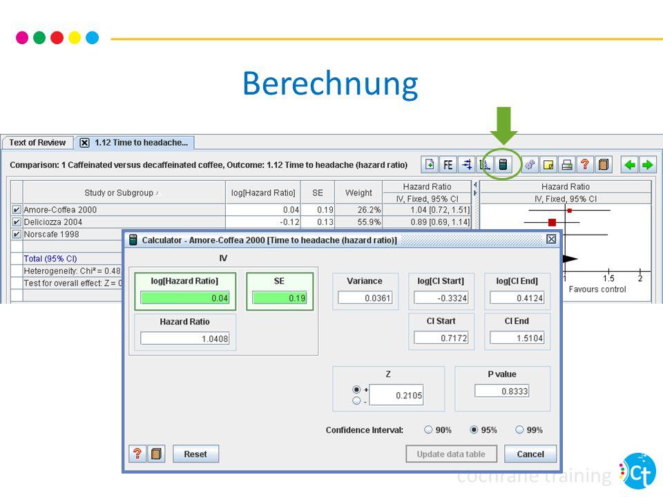 cochrane training Berechnung