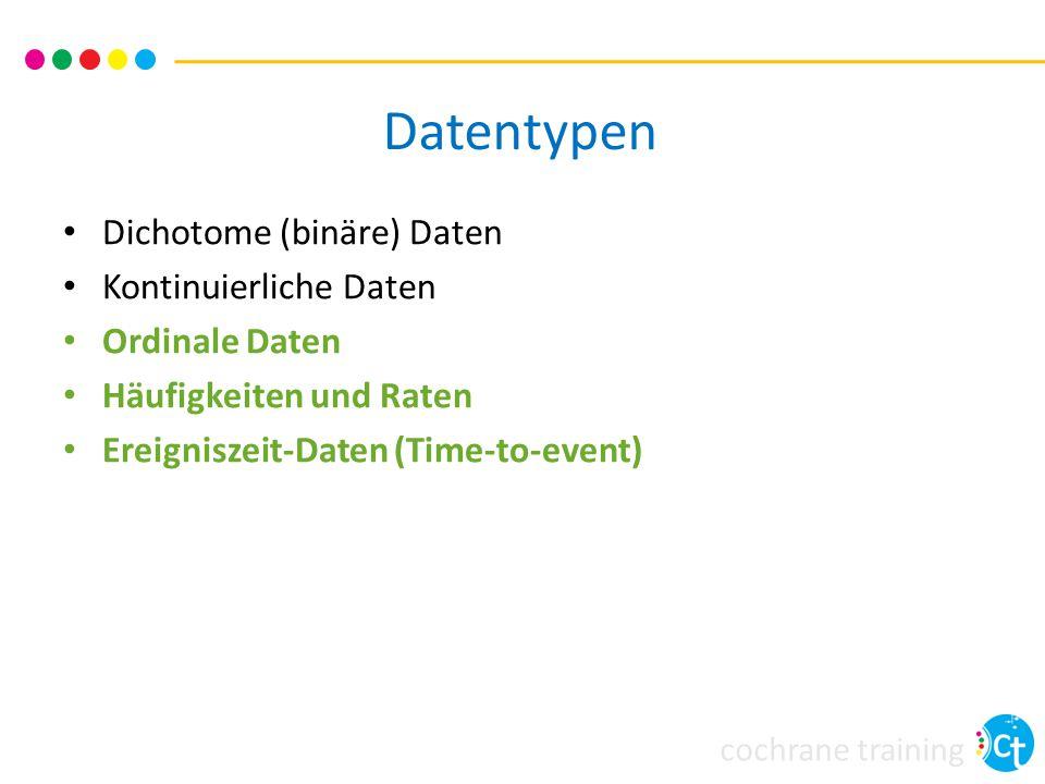 cochrane training Datentypen Dichotome (binäre) Daten Kontinuierliche Daten Ordinale Daten Häufigkeiten und Raten Ereigniszeit-Daten (Time-to-event)