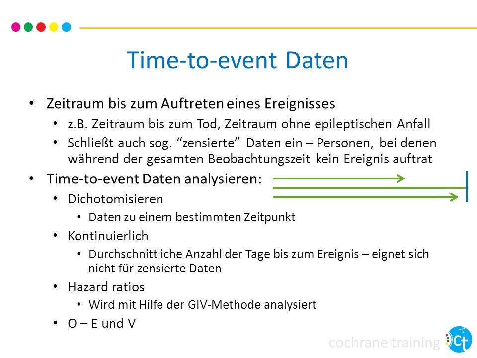 cochrane training Time-to-event Daten Zeitraum bis zum Auftreten eines Ereignisses z.B.