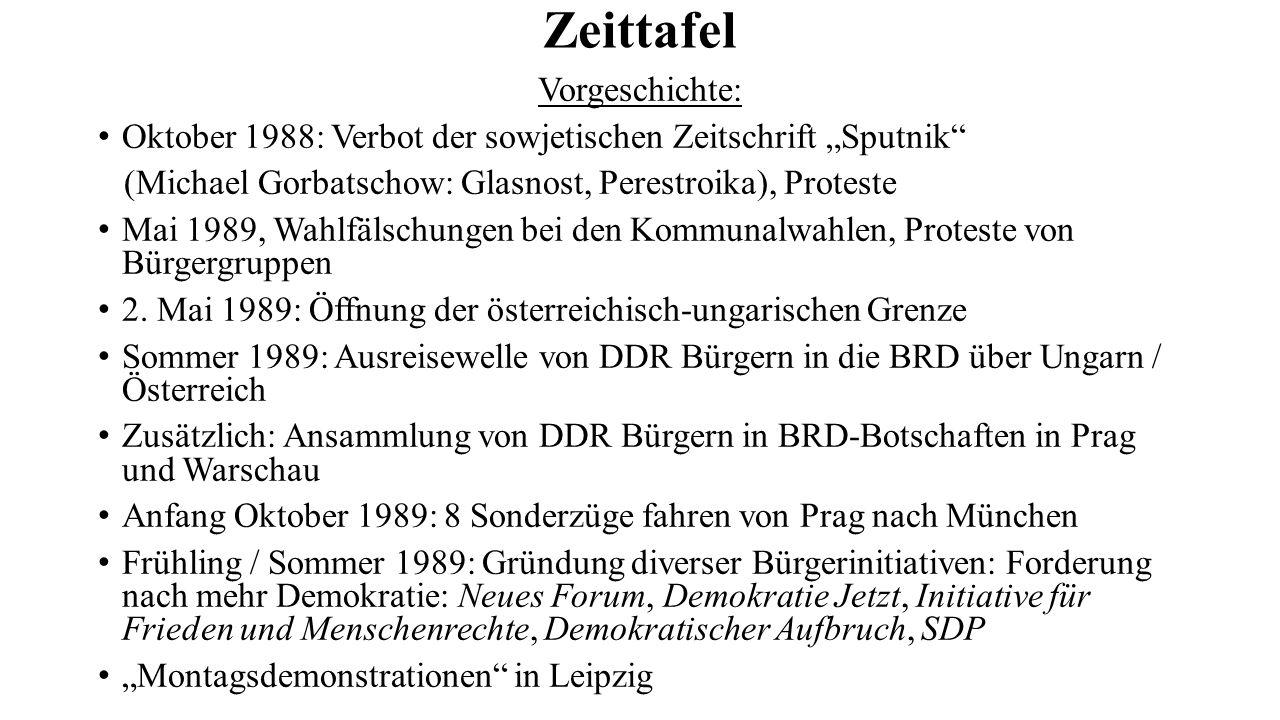 """Zeittafel Vorgeschichte: Oktober 1988: Verbot der sowjetischen Zeitschrift """"Sputnik"""" (Michael Gorbatschow: Glasnost, Perestroika), Proteste Mai 1989,"""