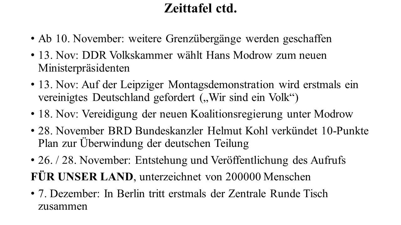 Zeittafel ctd. Ab 10. November: weitere Grenzübergänge werden geschaffen 13. Nov: DDR Volkskammer wählt Hans Modrow zum neuen Ministerpräsidenten 13.