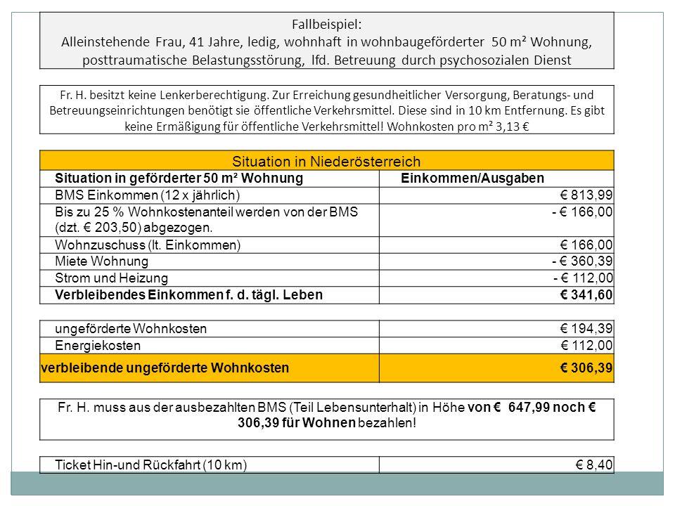 Fallbeispiel: Alleinstehende Frau, 41 Jahre, ledig, wohnhaft in wohnbaugeförderter 50 m² Wohnung, posttraumatische Belastungsstörung, lfd.