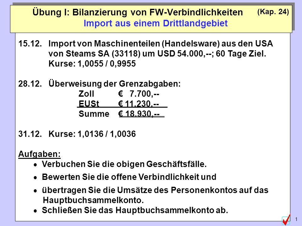 ©Abteilung für Wirtschaftspädagogik, WU-Wien 1 Übung I: Bilanzierung von FW-Verbindlichkeiten Import aus einem Drittlandgebiet (Kap.