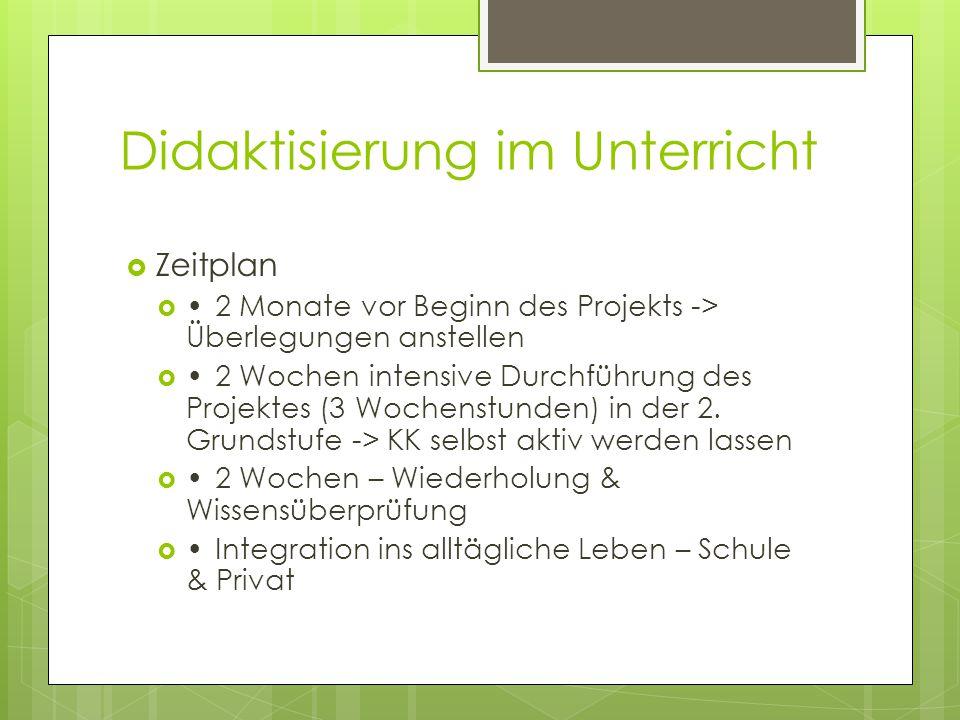Didaktisierung im Unterricht  Die Lernziele  LZ 1: Die SchülerInnen sollen das Mülltrennungssystem kennen lernen.