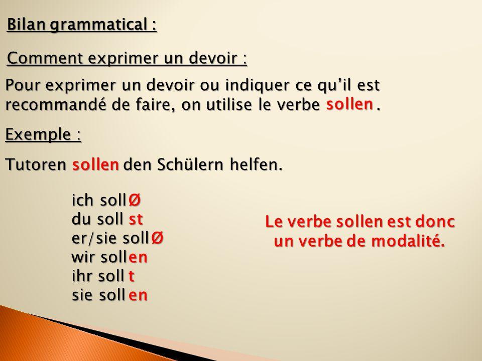 Bilan grammatical : Comment exprimer un devoir : Pour exprimer un devoir ou indiquer ce qu'il est recommandé de faire, on utilise le verbe. Exemple :