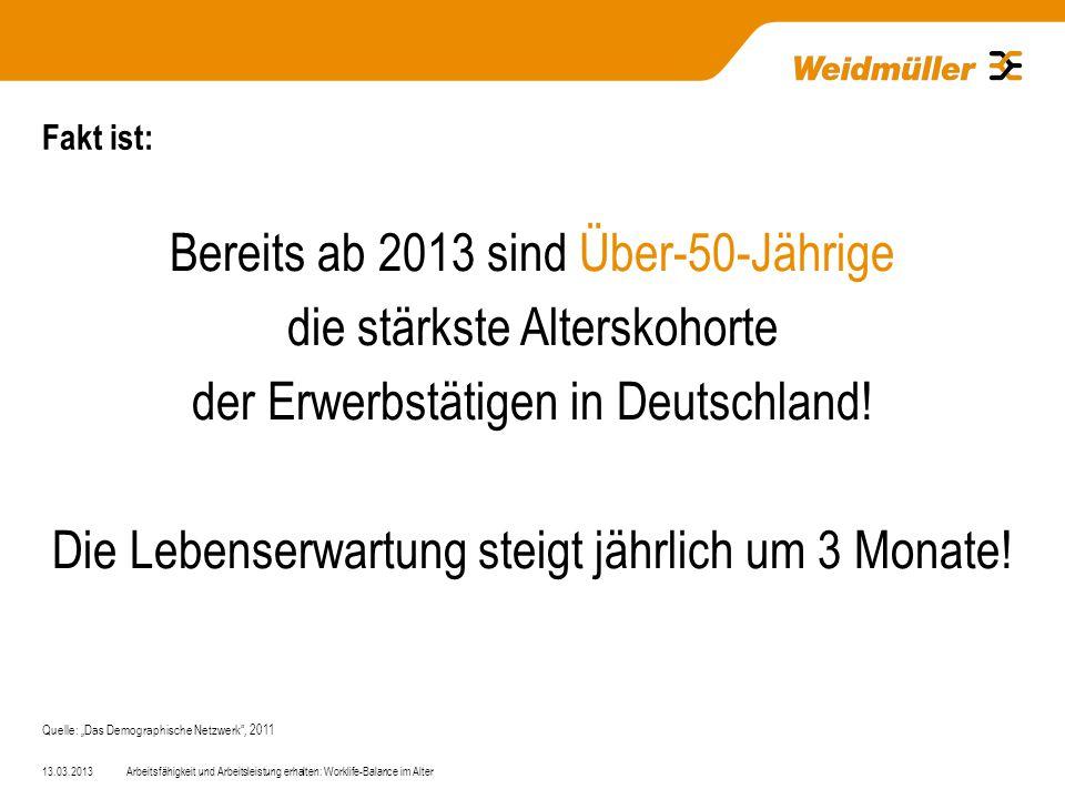 Fakt ist: Bereits ab 2013 sind Über-50-Jährige die stärkste Alterskohorte der Erwerbstätigen in Deutschland.