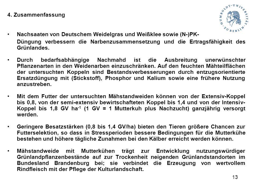 13 4. Zusammenfassung Nachsaaten von Deutschem Weidelgras und Weißklee sowie (N-)PK- Düngung verbessern die Narbenzusammensetzung und die Ertragsfähig