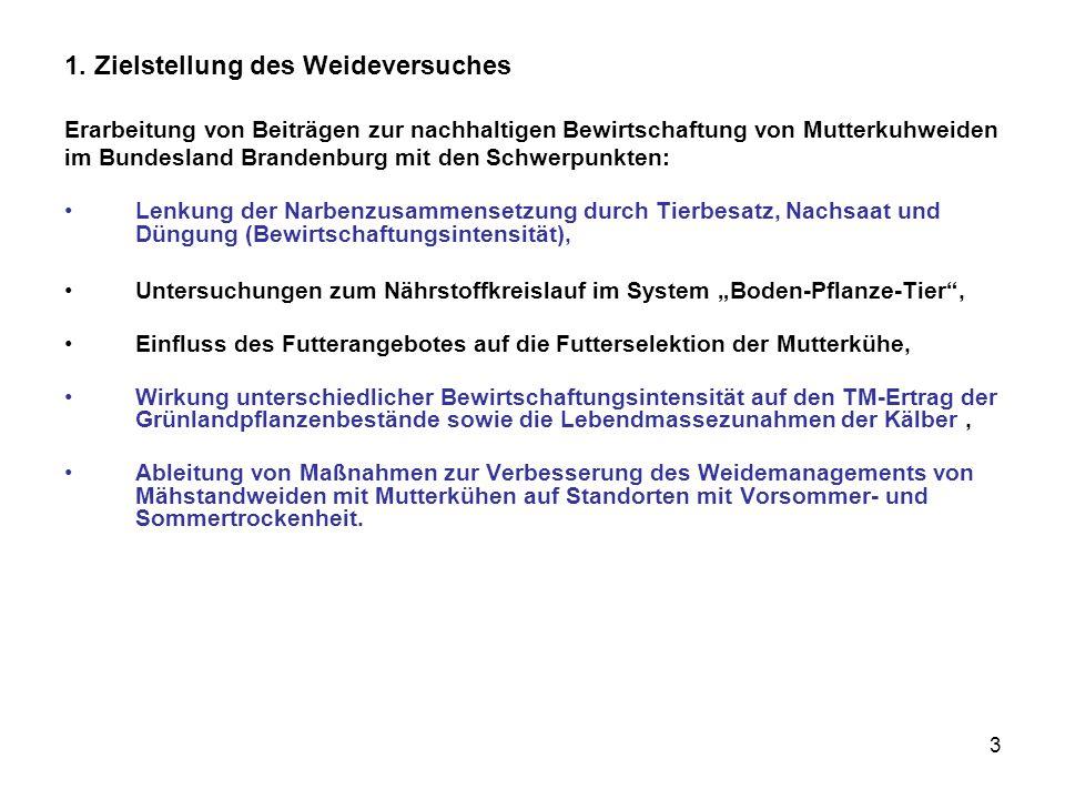 3 1. Zielstellung des Weideversuches Erarbeitung von Beiträgen zur nachhaltigen Bewirtschaftung von Mutterkuhweiden im Bundesland Brandenburg mit den