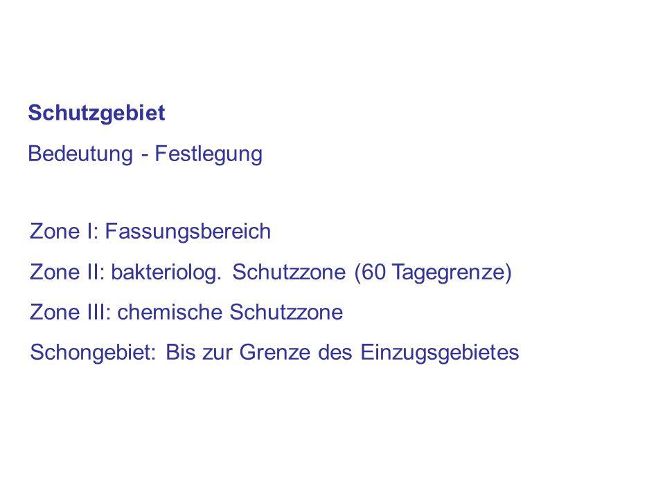 Schutzgebiet Bedeutung - Festlegung Zone I: Fassungsbereich Zone II: bakteriolog. Schutzzone (60 Tagegrenze) Zone III: chemische Schutzzone Schongebie