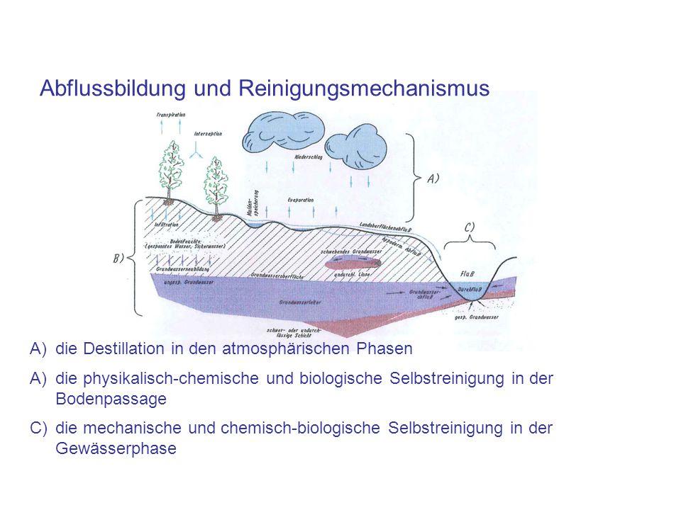 A)die Destillation in den atmosphärischen Phasen A)die physikalisch-chemische und biologische Selbstreinigung in der Bodenpassage C)die mechanische und chemisch-biologische Selbstreinigung in der Gewässerphase Abflussbildung und Reinigungsmechanismus