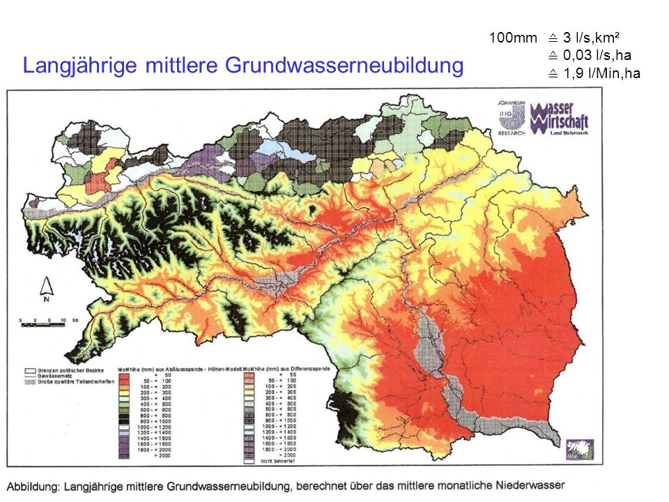 Langjährige mittlere Grundwasserneubildung 100mm ≙ 3 l/s,km² ≙ 0,03 l/s,ha ≙ 1,9 l/Min,ha