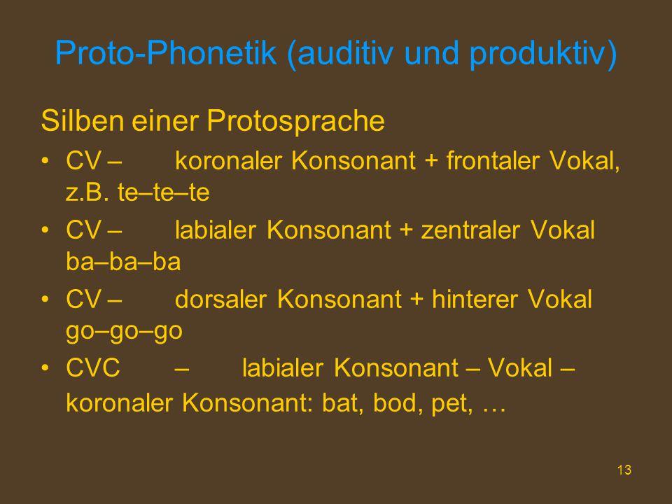 13 Proto-Phonetik (auditiv und produktiv) Silben einer Protosprache CV–koronaler Konsonant + frontaler Vokal, z.B. te–te–te CV–labialer Konsonant + ze