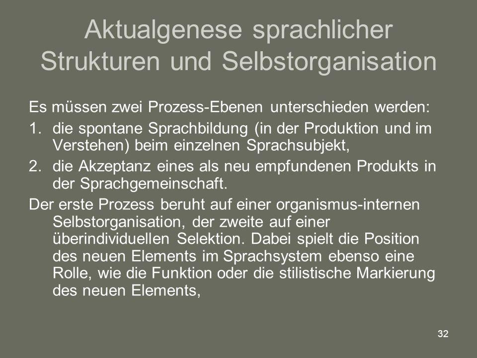 32 Aktualgenese sprachlicher Strukturen und Selbstorganisation Es müssen zwei Prozess-Ebenen unterschieden werden: 1.die spontane Sprachbildung (in de