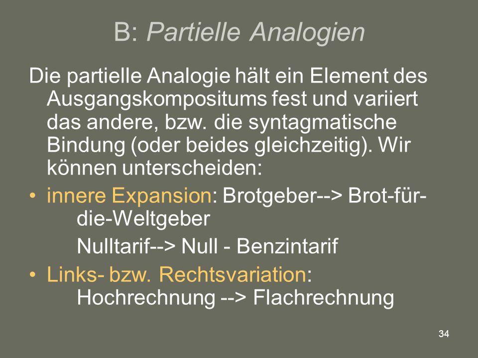 34 B: Partielle Analogien Die partielle Analogie hält ein Element des Ausgangskompositums fest und variiert das andere, bzw. die syntagmatische Bindun