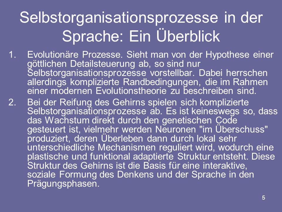 """6 3.Der Spracherwerb wurde schon seit den Arbeiten von Piaget als Selbstorganisationsprozess verstanden (er spricht von """"Formen kognitiver Selbstregulationen, die flexibel und konstruktiv sind (Furth, 1972: 275)."""