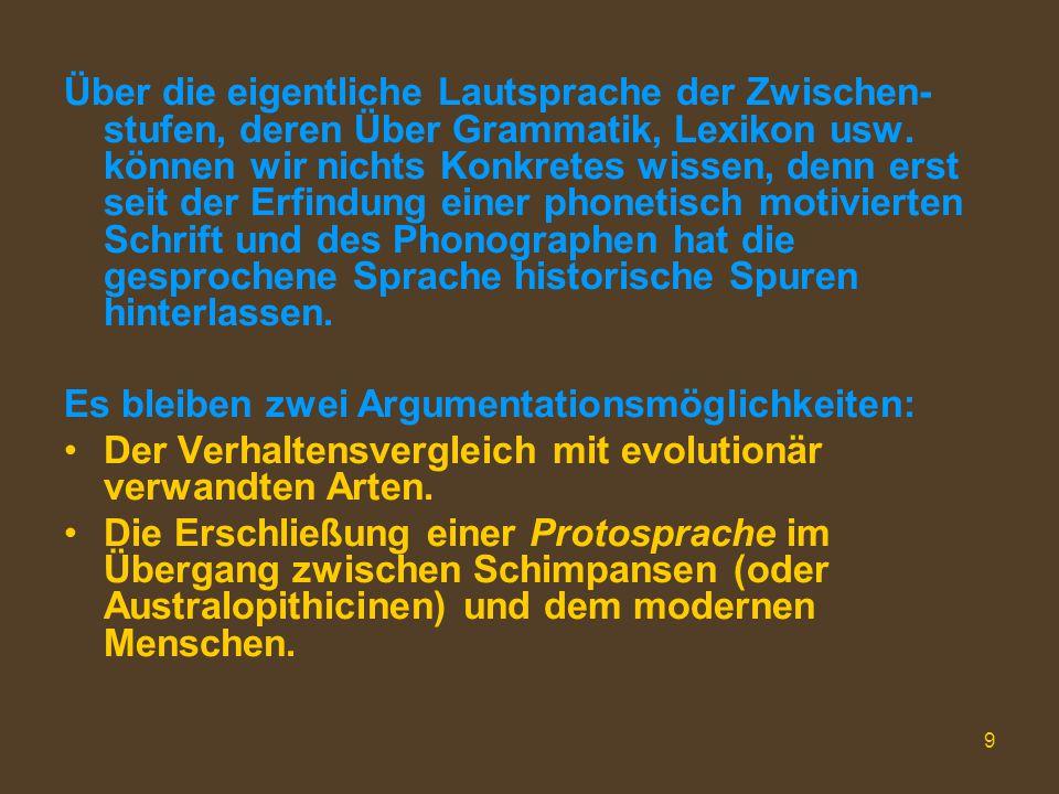 20 Zwei Aporien 1.Die Evolution, z.B. seit der Protosprache (2 Mill.