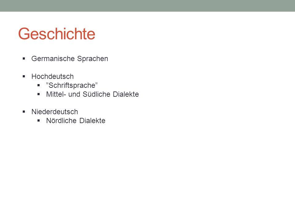 """Geschichte  Germanische Sprachen  Hochdeutsch  """"Schriftsprache""""  Mittel- und Südliche Dialekte  Niederdeutsch  Nördliche Dialekte"""