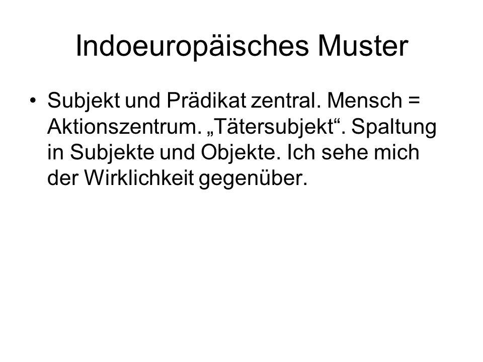 Indoeuropäisches Muster Subjekt und Prädikat zentral.