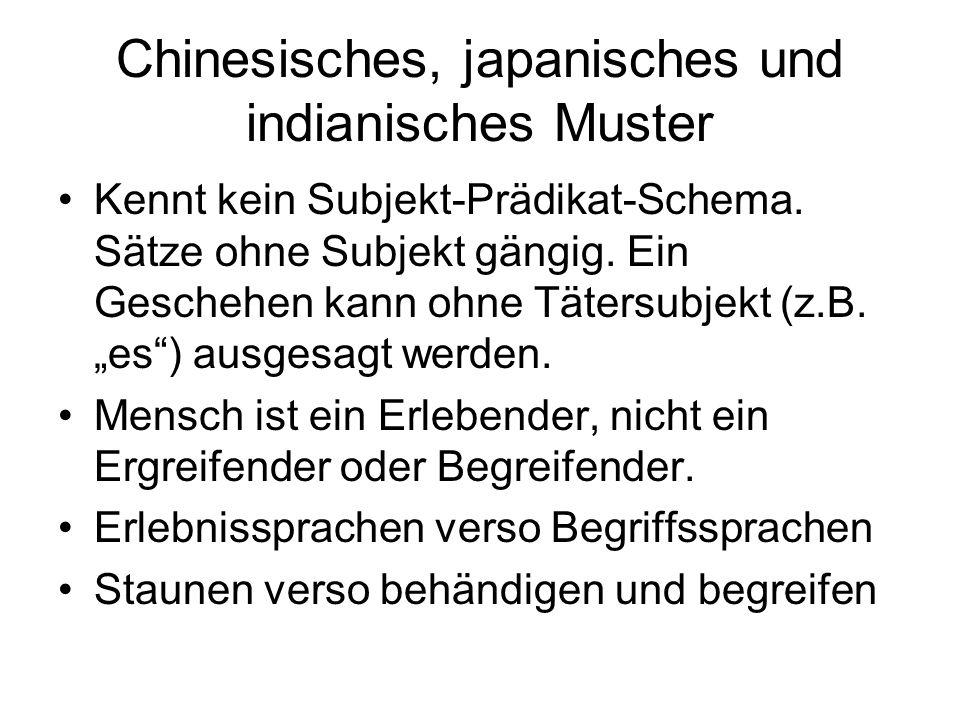 Chinesisches, japanisches und indianisches Muster Kennt kein Subjekt-Prädikat-Schema.