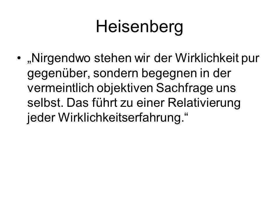 """Heisenberg """"Nirgendwo stehen wir der Wirklichkeit pur gegenüber, sondern begegnen in der vermeintlich objektiven Sachfrage uns selbst."""