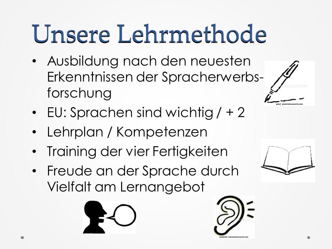Unsere Lehrmethode Ausbildung nach den neuesten Erkenntnissen der Spracherwerbs- forschung EU: Sprachen sind wichtig / + 2 Lehrplan / Kompetenzen Training der vier Fertigkeiten Freude an der Sprache durch Vielfalt am Lernangebot