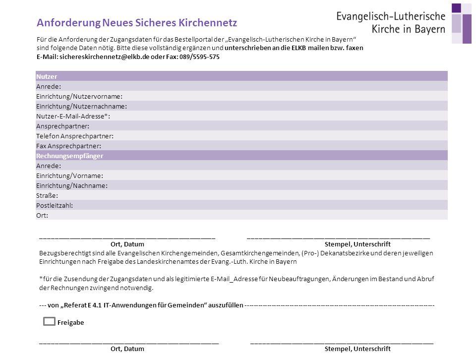 """Für die Anforderung der Zugangsdaten für das Bestellportal der """"Evangelisch-Lutherischen Kirche in Bayern sind folgende Daten nötig."""