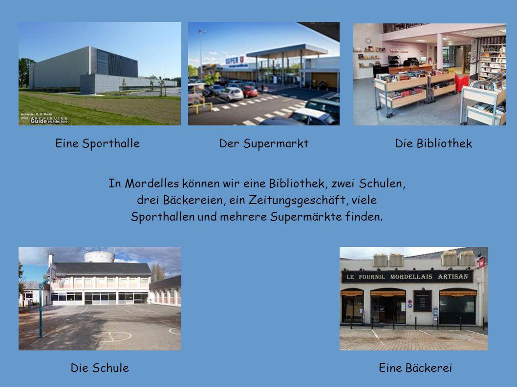 In Mordelles können wir eine Bibliothek, zwei Schulen, drei Bäckereien, ein Zeitungsgeschäft, viele Sporthallen und mehrere Supermärkte finden.