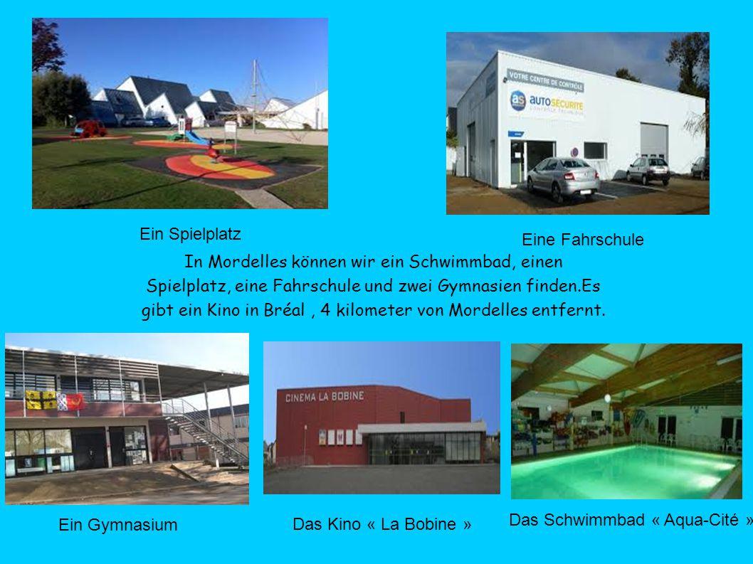 In Mordelles können wir ein Schwimmbad, einen Spielplatz, eine Fahrschule und zwei Gymnasien finden.Es gibt ein Kino in Bréal, 4 kilometer von Mordelles entfernt.