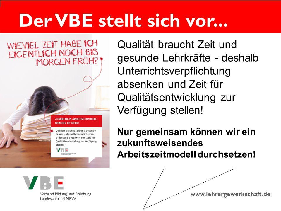 www.lehrergewerkschaft.de Der VBE stellt sich vor... Qualität braucht Zeit und gesunde Lehrkräfte - deshalb Unterrichtsverpflichtung absenken und Zeit
